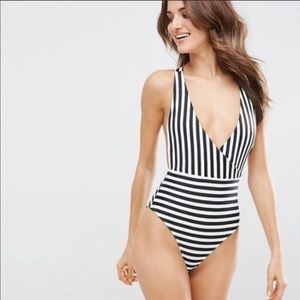 ASOS Clean Cross Back Mono Stripe Swimsuit